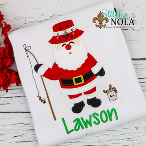 Personalized Christmas Santa Fishing Applique Shirt