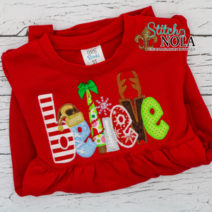 Personalized Christmas Believe Appliqué on Colored Garment