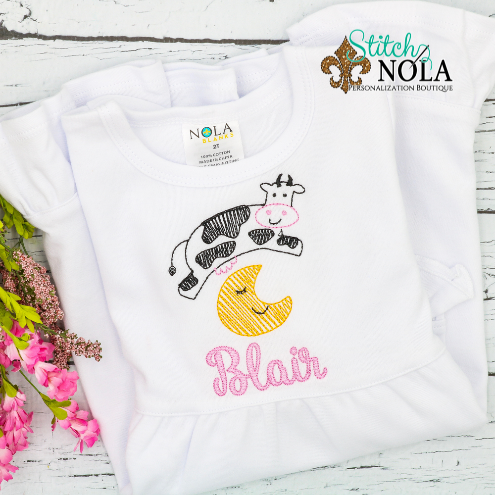 Personalized Cow Jumped Over the Moon Sketch Shirt