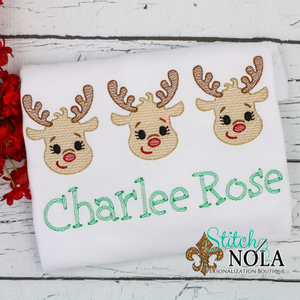 Personalized Christmas Baby Reindeer Trio Sketch Shirt