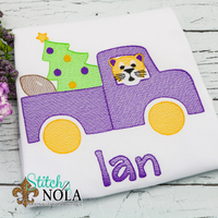 Personalized Christmas Truck with LSU Tiger Sketch Shirt