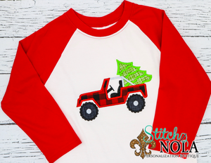 Personalized Christmas Buffalo Plaid Jeep with Tree Applique Shirt