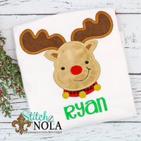Personalized Christmas Baby Reindeer Applique Shirt