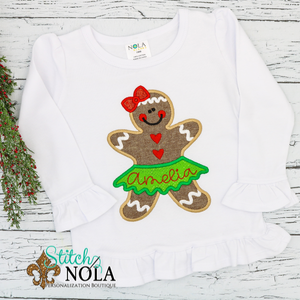 Personalized Christmas Girl Gingerbread Cookie with Skirt Applique Shirt