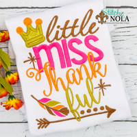 Personalized Little Miss Thankful Applique Shirt