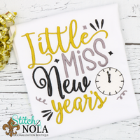 Personalized Little Miss New Years Sketch Shirt
