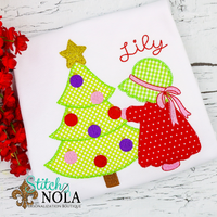 Personalized Christmas Tree with Little Girl Applique Shirt
