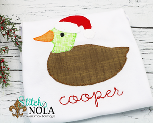 Personalized Christmas Duck with Santa Hat Applique Shirt