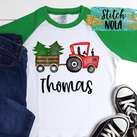 Personalized Christmas Tractor with Trees Printed Shirt