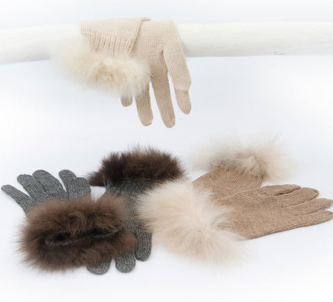 Alpaca Fur Trimmed Gloves