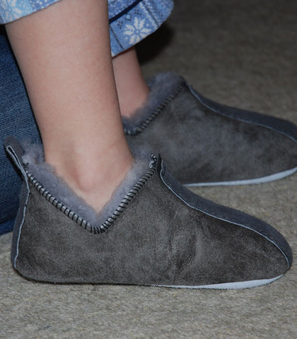 Boys' Soft Sheepskin Slippers