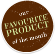 A sticker that indicates Perillas favourite product of the month