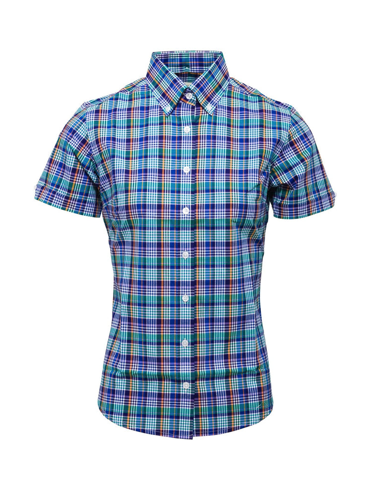 Relco Ladies Multi Blue Button Down Short Sleeved Shirts
