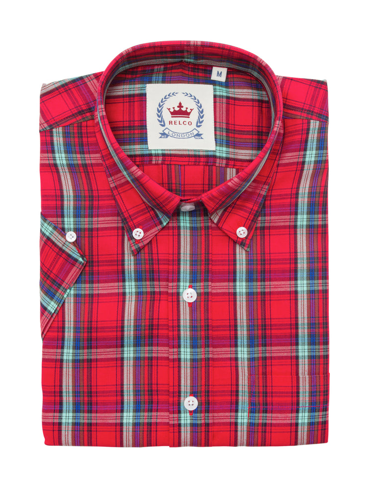 Relco Ladies Red Check Button Down Short Sleeved Shirts