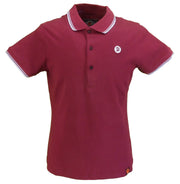 Trojan Records Ladies Maroon/Sky Tipped Polo Shirts