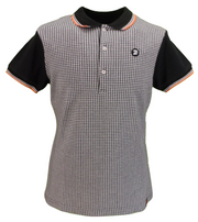 Trojan Records Ladies Black Dogtooth Tipped Polo Shirts