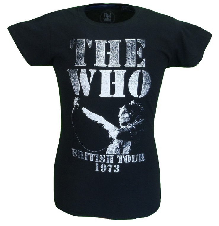 Ladies Official Licensed The Who Black British Tour 1973 T Shirts