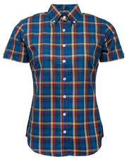 Relco Ladies Blue Check Button Down Short Sleeved Shirts