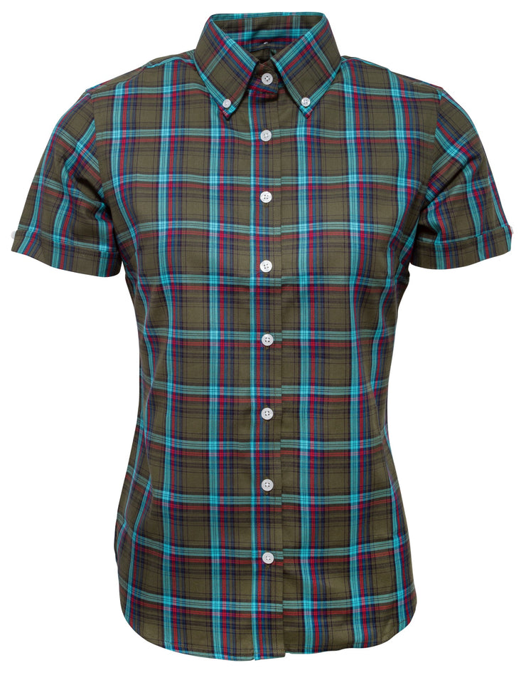 Relco Ladies Green Check Button Down Short Sleeved Shirts