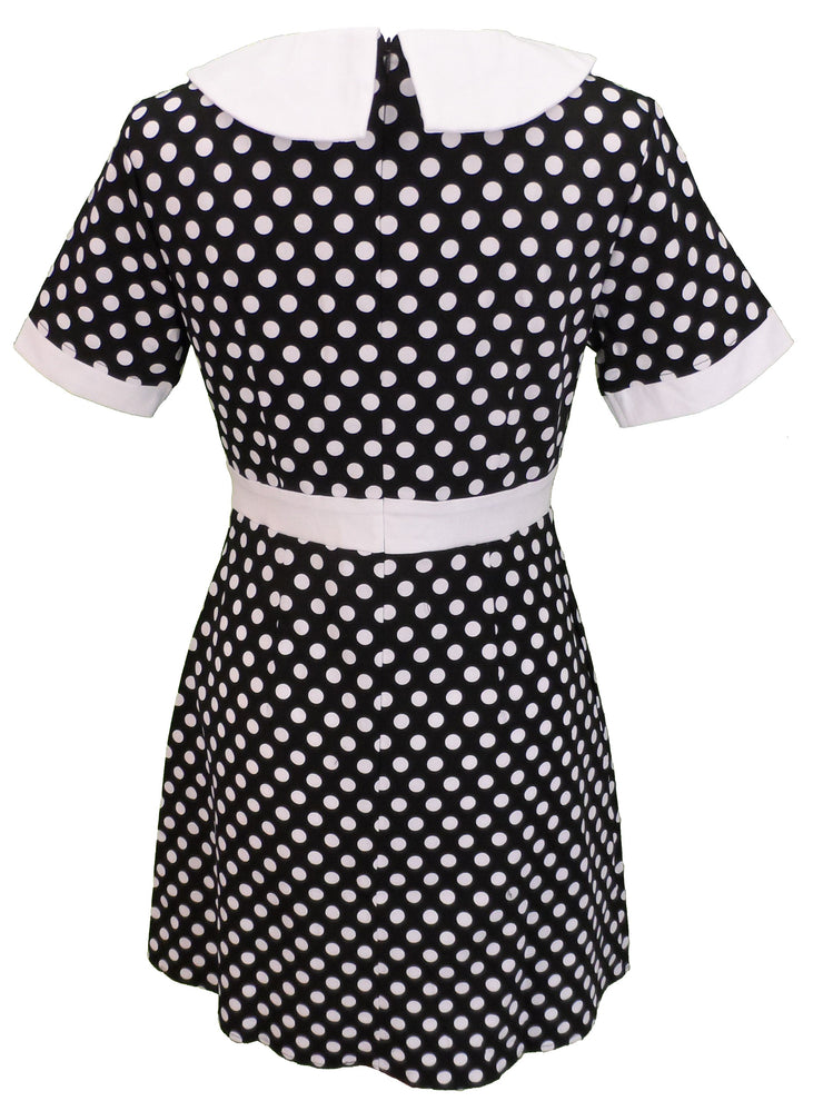 Ladies 60s Retro Mod Vintage Black & White Polka Dot Dress