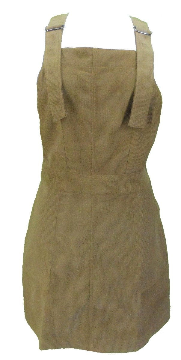 Run & Fly Ladies Retro Indie Tan Cord Pinafore Dress