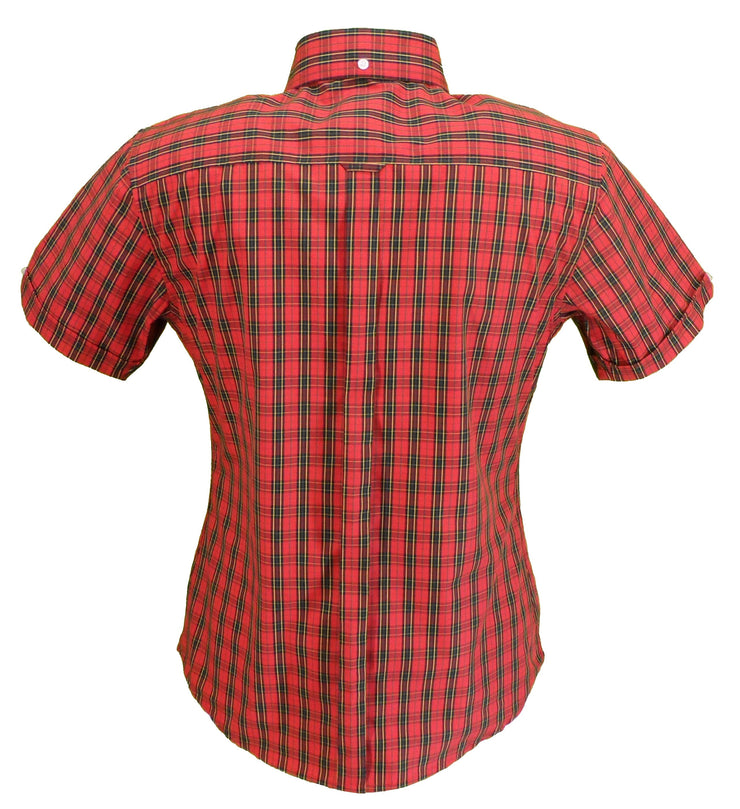 Relco Retro Red Tartan Ladies Button Down Short Sleeved Shirts