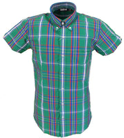 Relco Retro Green Check Ladies Button Down Short Sleeved Shirts