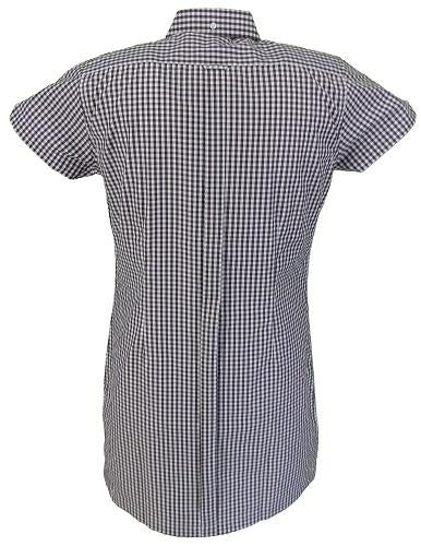 Relco Ladies Burgundy Gingham Retro Shirt Dress