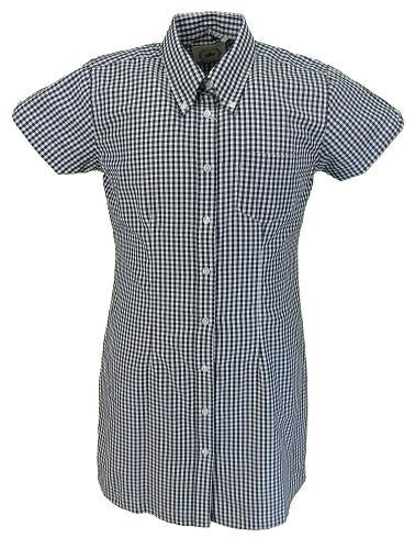Relco Ladies Black Gingham Retro Shirt Dress
