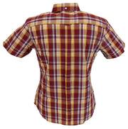 Relco Retro Burgundy Mustard Check Ladies Button Down Short Sleeved Shirts