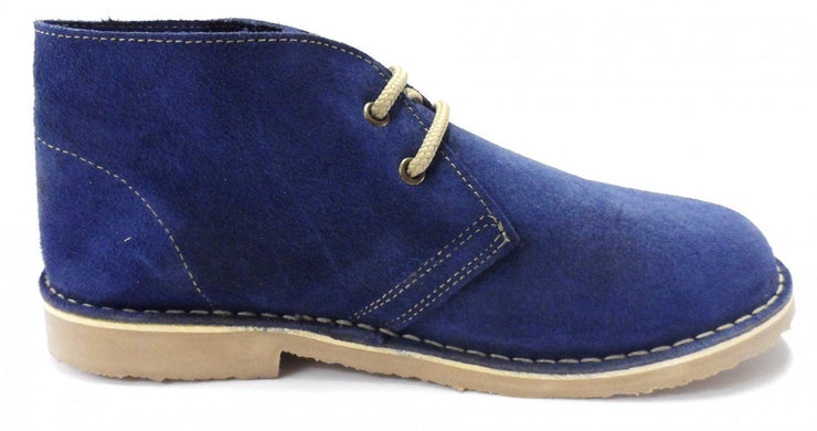 Roamers Ladies Denim Blue 2 Eyelet Round Toe Real Suede Desert Boots