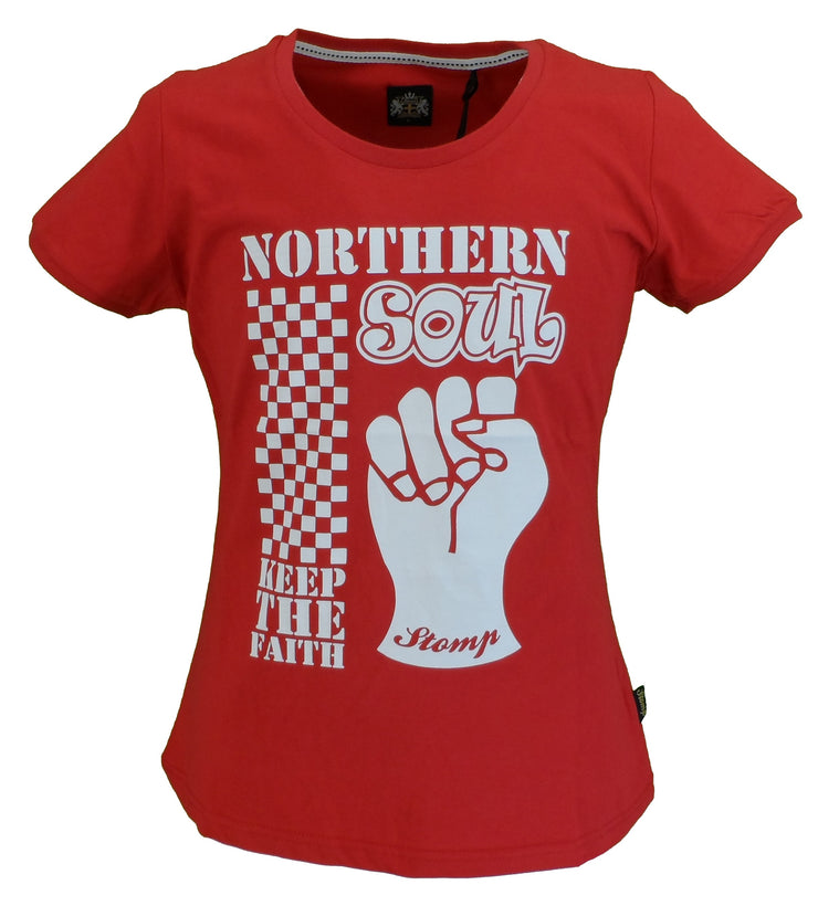 Stomp Ladies Red Norhern Soul Keep The Faith T Shirts