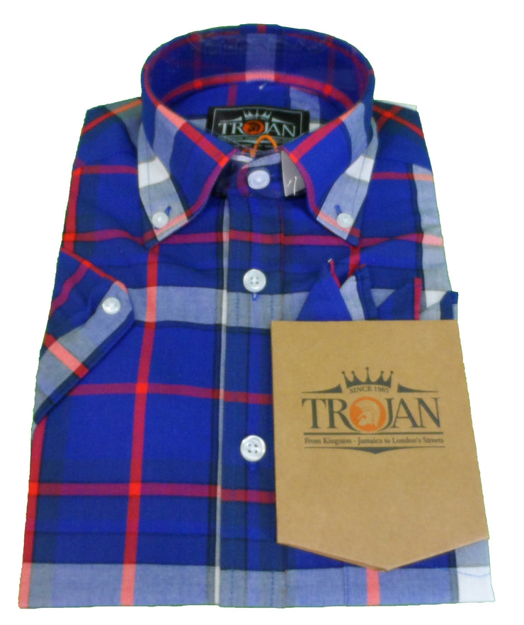 Trojan Records Ladies Blue Button Down Short Sleeved Shirts