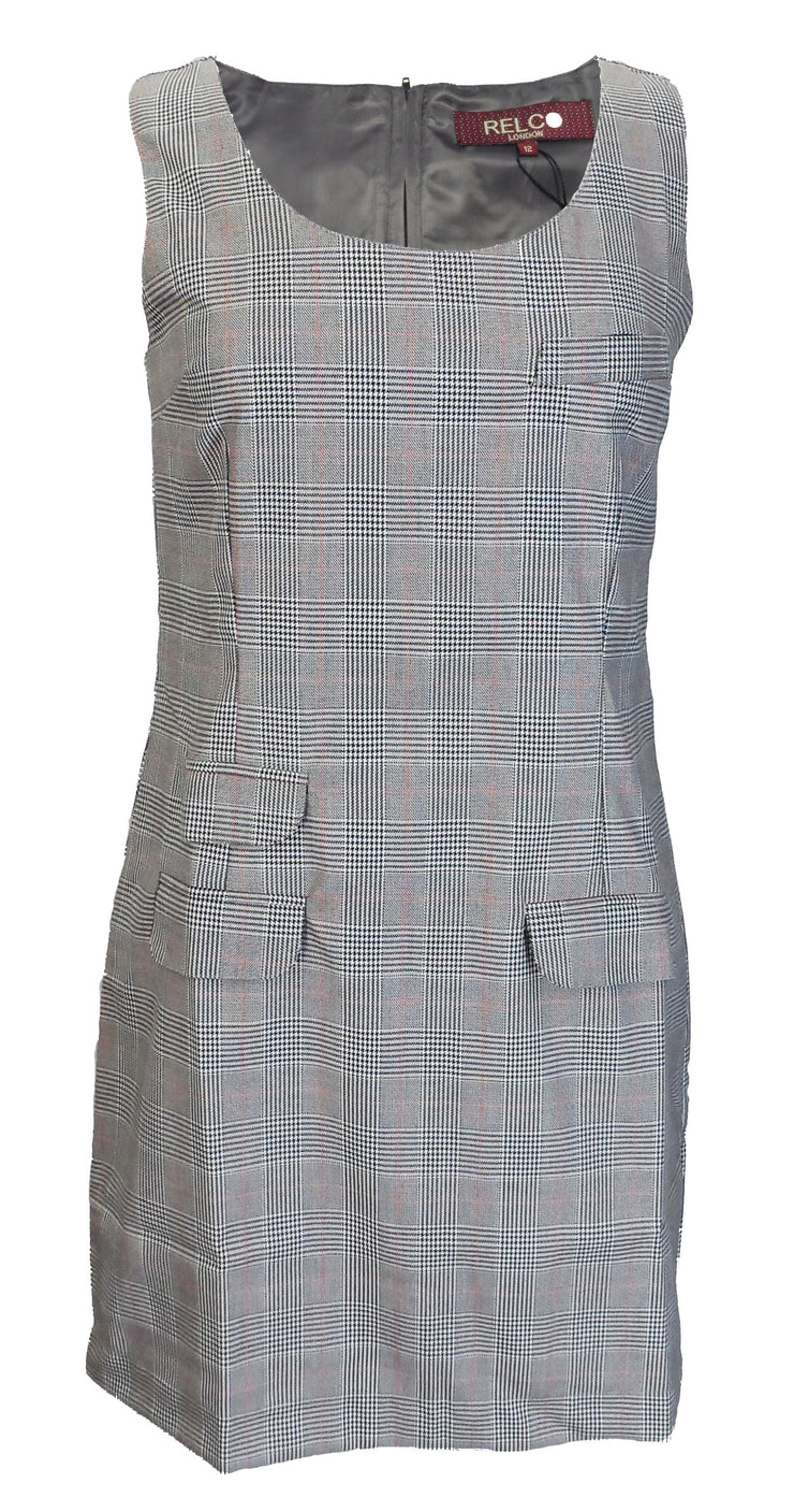 Relco Ladies Retro Mod Prince of Wales Pinafore/Tunic Dress