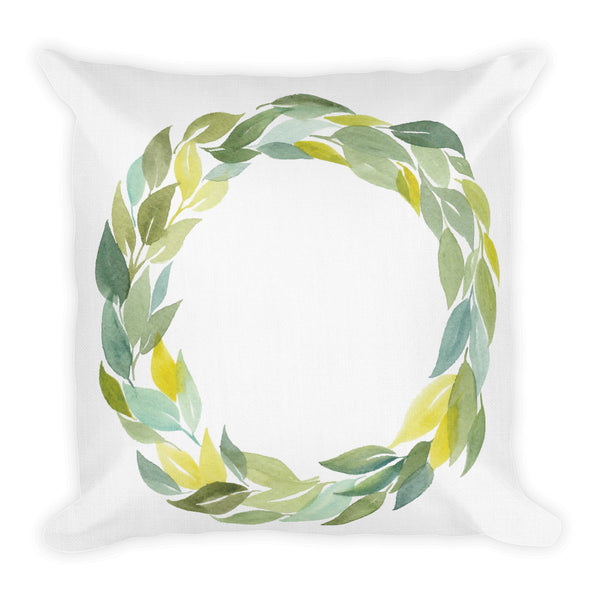 Leafy Watercolor Wreath | Throw Pillow