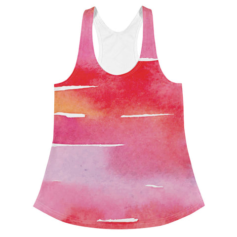 Red Watercolor Stripes | Women's Racerback Tank