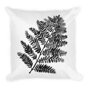 Black & White Watercolor Fern | Throw Pillow
