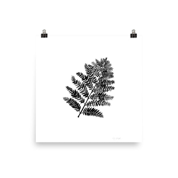 Black & White Watercolor Fern | Art Print