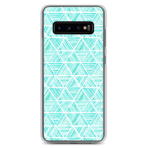 Aqua Triangular Watercolor Pattern | Samsung Case