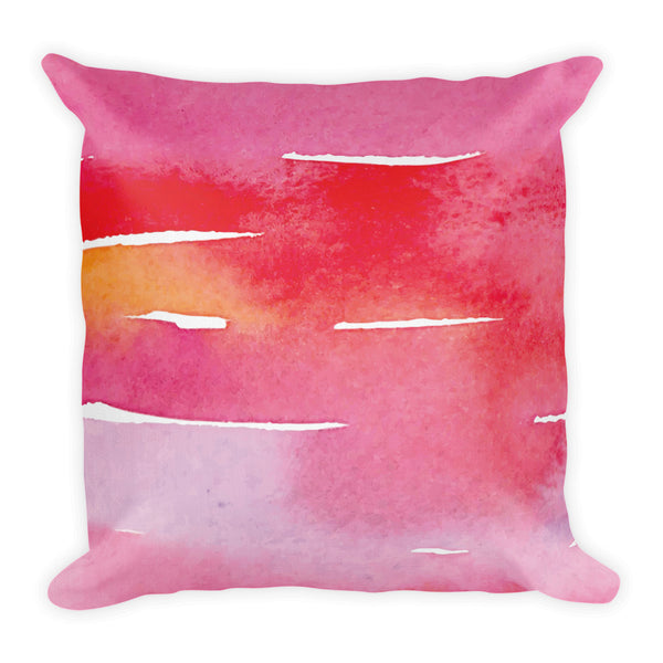 Red Watercolor Stripes | Throw Pillow