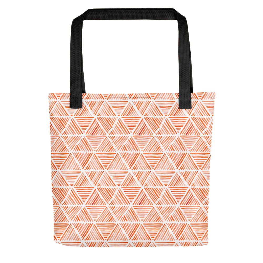 Orange Triangular Watercolor Pattern | Tote Bag