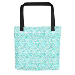 Aqua Triangular Watercolor Pattern | Tote Bag