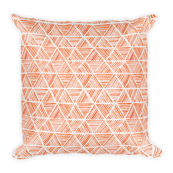 Orange Triangular Watercolor Pattern | Throw Pillow