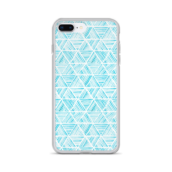 Light Blue Triangular Watercolor Pattern | iPhone Case