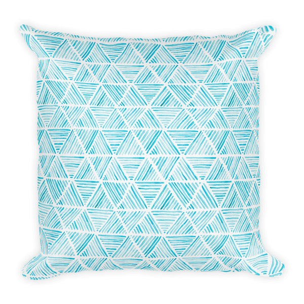 Blue Triangular Watercolor Pattern | Throw Pillow