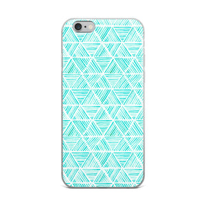 Aqua Triangular Watercolor Pattern | iPhone Case