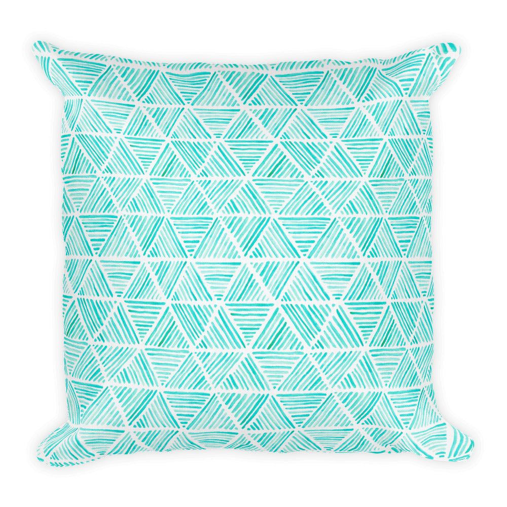 Aqua Triangular Watercolor Pattern | Throw Pillow