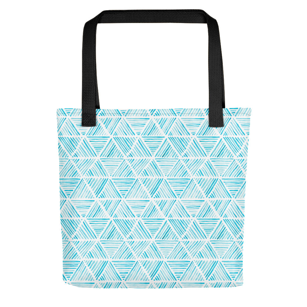 Light Blue Triangular Watercolor Pattern | Tote Bag