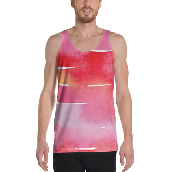 Red Watercolor Stripes | Unisex Tank Top