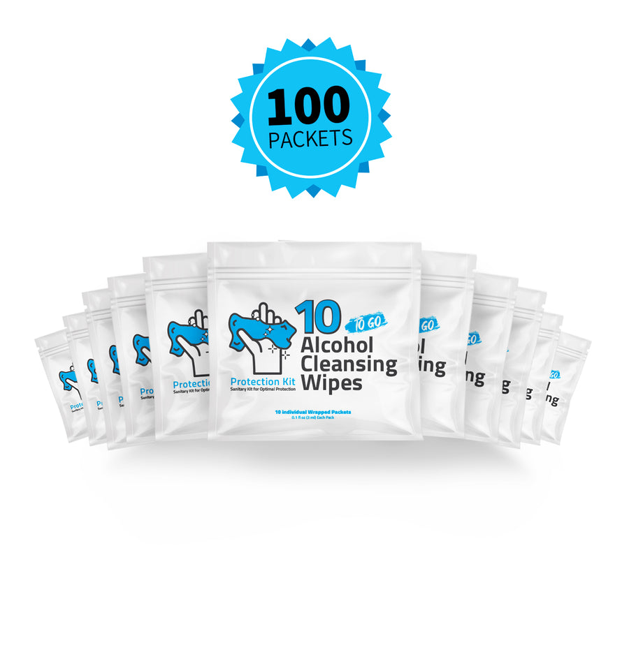 Hand Cleansing Alcohol Wipes Mini-Kit 10 Pack (Set of 10)
